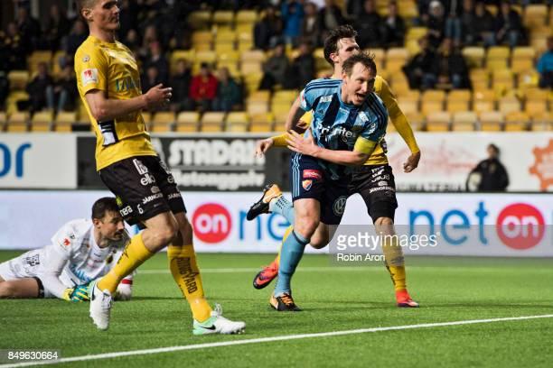 Kim Kallstrom of Djurgardens IF celebrates after scoring 12 behind Kevin StuhrEllegaard goalkeeper of IF Elfsborg during the Allsvenskan match...
