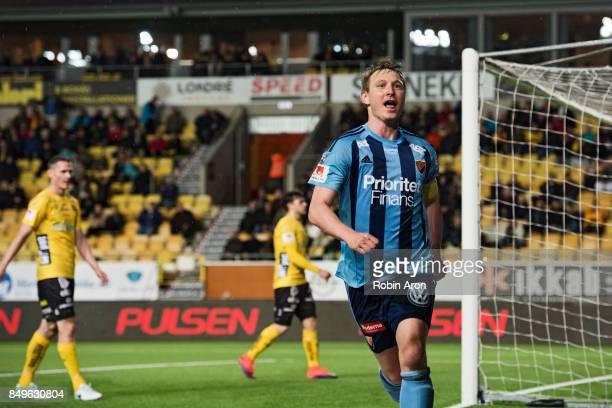 Kim Kallstrom of Djurgardens IF celebrates after scoring 12 during the Allsvenskan match between IF Elfsborg and Djurgardens IF at Boras Arena on...