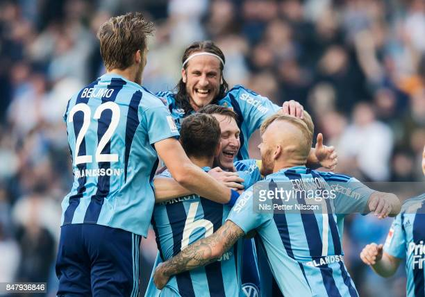 Kim Kallstrom of Djurgardens IF celebrates after scoring to 10 during the Allsvenskan match between Djurgardens IF and Orebro SK at Tele2 Arena on...