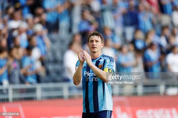 Kim Kallstrom of Djurgardens IF celebrates after the victory during the Allsvenskan match between Djurgardens IF and Ostersunds FK at Tele2 Arena on...