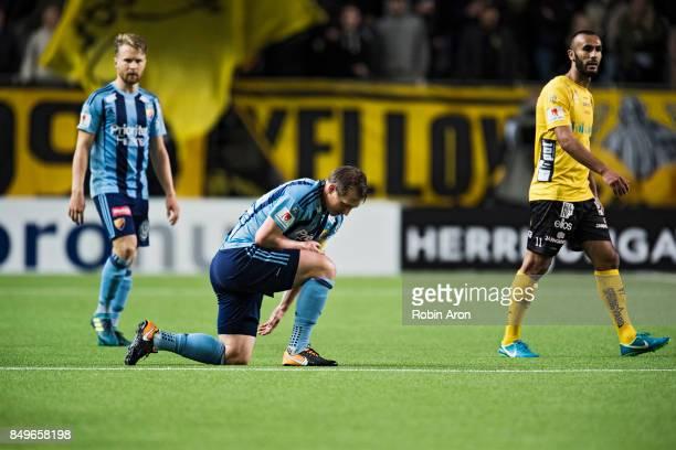 Kim Kallstrom of Djurgardens IF dejected during the Allsvenskan match between IF Elfsborg and Djurgardens IF at Boras Arena on September 19 2017 in...