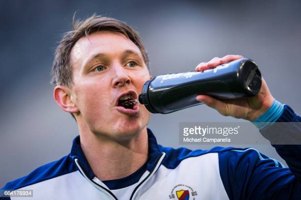 Kim Kallstrom of Djurgardens IF drinks water during the warm session before the Allsvenskan match between Djurgardens IF and IK Sirius FK at Tele2...