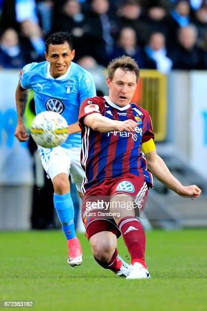 Kim Kallstrom of Djurgardens IF during the Allsvenskan match between Malmo FF and Djurgardens IF at Swedbank Stadion on April 24 2017 in Malmo Sweden