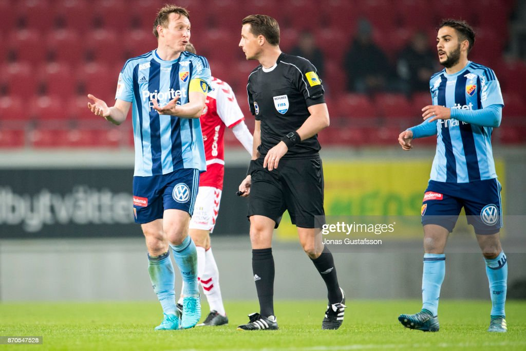 Kim Kallstrom of Djurgardens IF react during the allsvenskan match between Kalmar FF and Djurgarden IF at Guldfageln Arena on November 5, 2017 in Kalmar, Sweden.