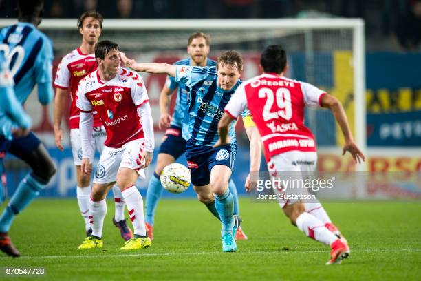 Kim Kallstrom of Djurgardens IF running with the ball during the allsvenskan match between Kalmar FF and Djurgarden IF at Guldfageln Arena on...