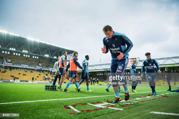 Kim Kallstrom of Djurgardens IF warm up before the Allsvenskan match between IF Elfsborg and Djurgardens IF at Boras Arena on September 19 2017 in...