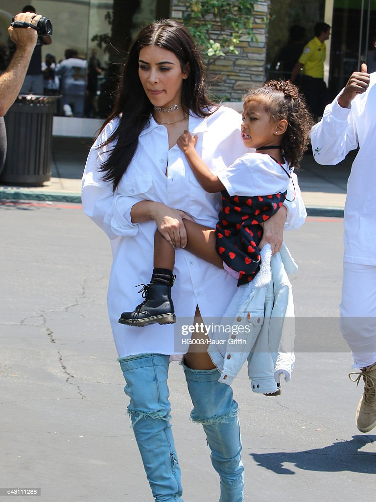 Kim Kardashian and daughter North West are seen on June 25, 2016 in Los Angeles, California.