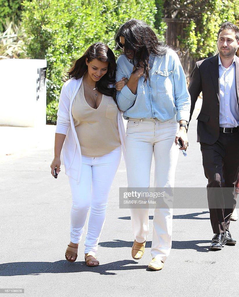 Kim Kardashian and designer Rachel Roy as seen on April 20, 2013 in Los Angeles, California.