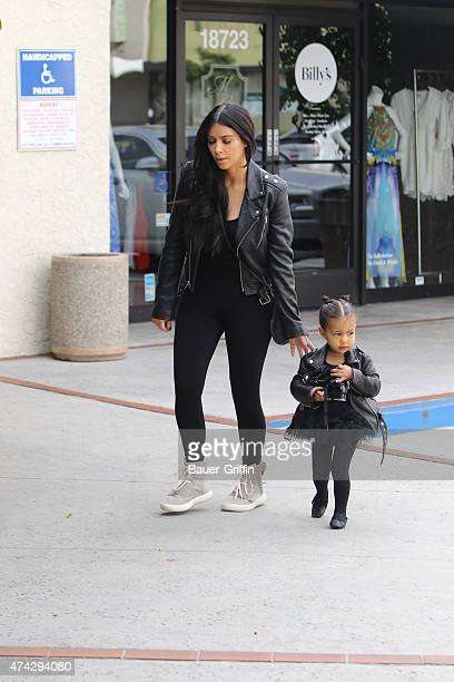 Kim Kardashian and her daughter North West are seen on May 21 2015 in Los Angeles California