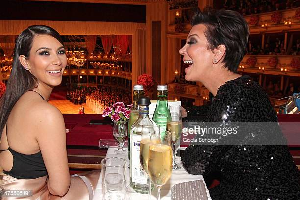 Kim Kardashian and her mother Kris Jenner attend the traditional Vienna Opera Ball at Vienna State Opera on February 27 2014 in Vienna Austria