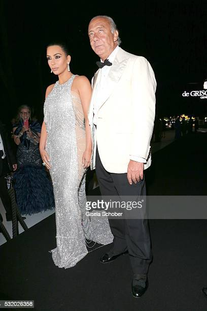 Kim Kardashian and host Fawaz Gruosi during the 'De Grisogono' Party at the annual 69th Cannes Film Festival at Hotel du CapEdenRoc on May 17 2016 in...