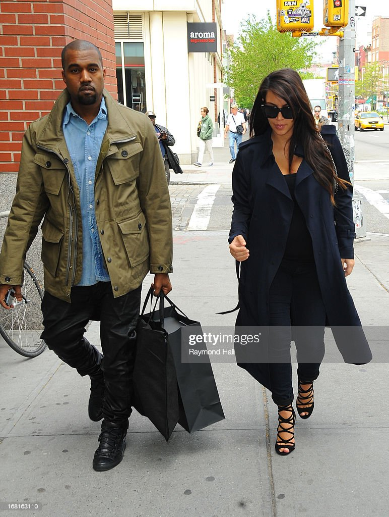 Kim Kardashian and Kanye West are seen in Soho on May 6 2013 in New York City