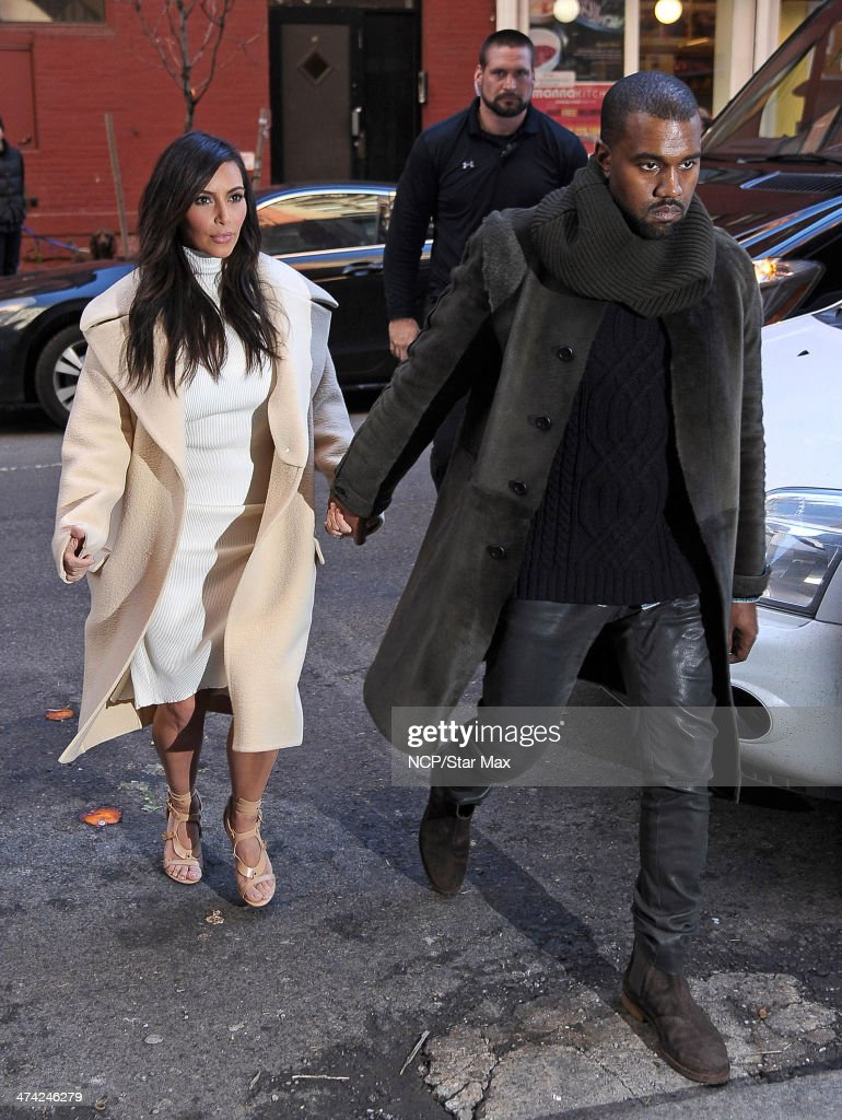 <a gi-track='captionPersonalityLinkClicked' href=/galleries/search?phrase=Kim+Kardashian&family=editorial&specificpeople=753387 ng-click='$event.stopPropagation()'>Kim Kardashian</a> and <a gi-track='captionPersonalityLinkClicked' href=/galleries/search?phrase=Kanye+West+-+Musician&family=editorial&specificpeople=201803 ng-click='$event.stopPropagation()'>Kanye West</a> are seen on February 22, 2014 in New York City.