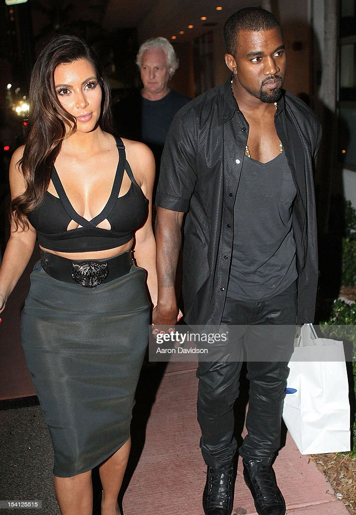 Kim Kardashian and Kanye West are sighted leaving at Prime 112 Steakhouse on October 14 2012 in Miami Beach Florida