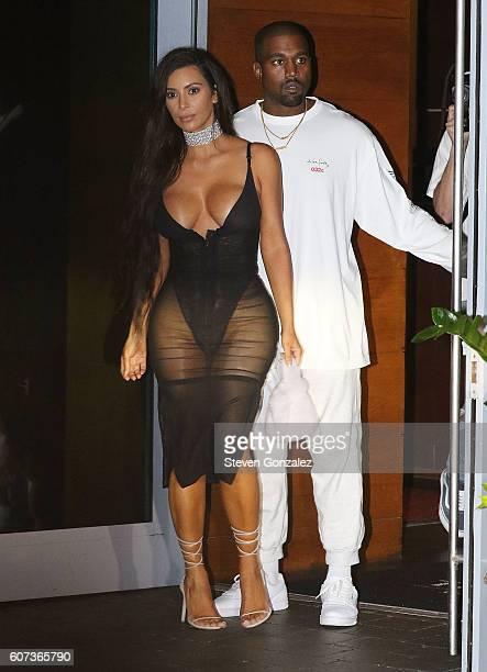 Kim Kardashian and Kanye West are sighted on Miami Beach on September 17 2016 in Miami Beach Florida