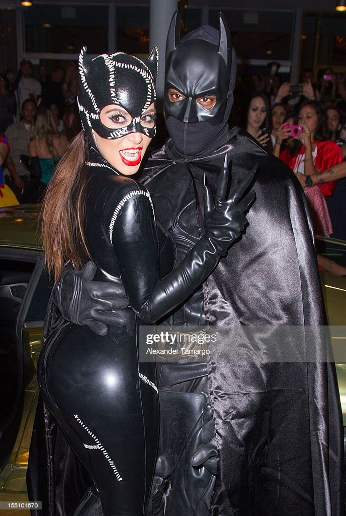Kim Kardashian and Kanye West arrive at Kim Kardashian's Halloween party at LIV nightclub at Fontainebleau Miami on October 31, 2012 in Miami Beach, Florida.