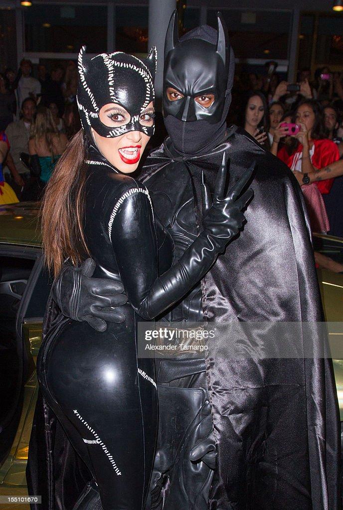 Kim Kardashian and Kanye West arrive at Kim Kardashian's Halloween party at LIV nightclub at Fontainebleau Miami on October 31, 2012 in Miami Beach, Florida.