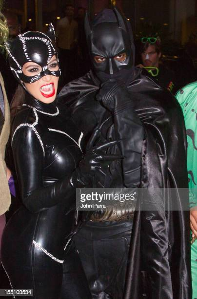 Kim Kardashian and Kanye West arrive at Kim Kardashian's Halloween party at LIV nightclub at Fontainebleau Miami on October 31 2012 in Miami Beach...