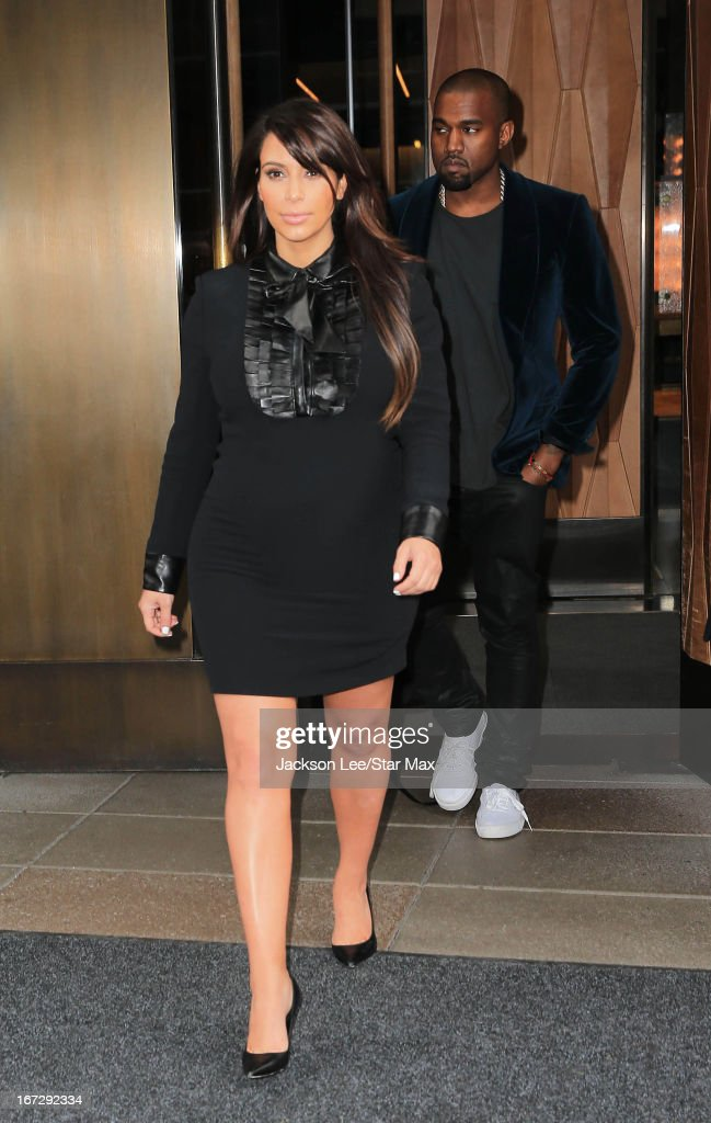Kim Kardashian and Kanye West as seen on April 23, 2013 in New York City.