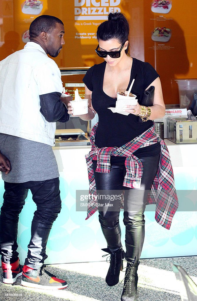 Kim Kardashian and Kanye West as seen on February 12, 2013 in Los Angeles, California.