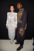 Kim Kardashian and Kanye West attend the Balmain show as part of the Paris Fashion Week Womenswear Spring/Summer 2015 on September 25 2014 in Paris...