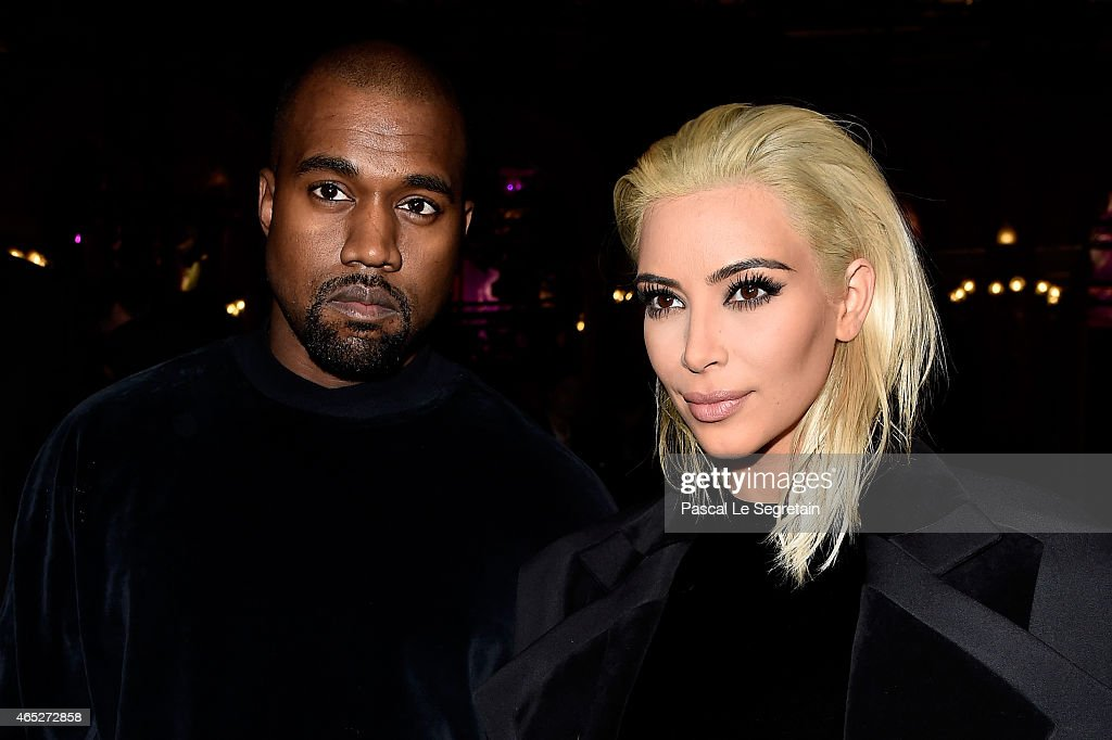 Kim Kardashian and Kanye West attend the Balmain show as part of the Paris Fashion Week Womenswear Fall/Winter 2015/2016 on March 5 2015 in Paris...