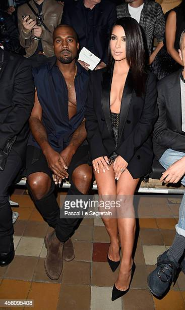Kim Kardashian and Kanye West attend the Lanvin show as part of the Paris Fashion Week Womenswear Spring/Summer 2015 on September 25 2014 in Paris...