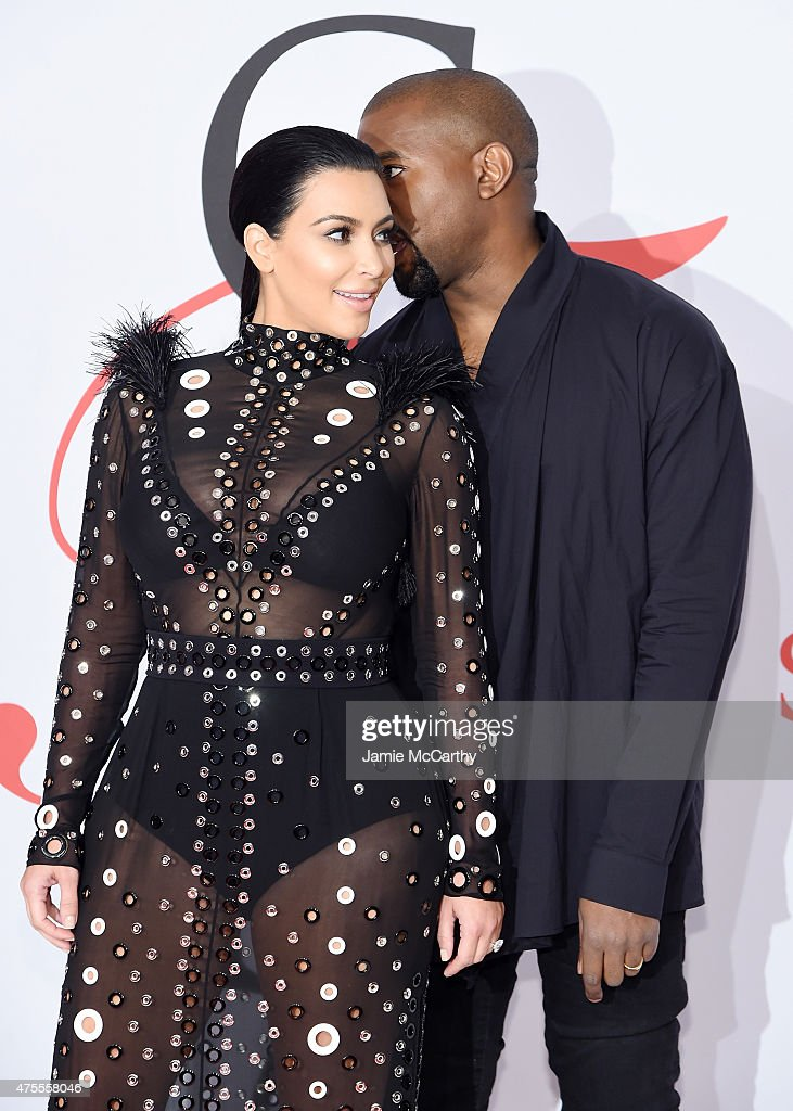 Kim Kardashian and Kanye West attends the 2015 CFDA Fashion Awards at Alice Tully Hall at Lincoln Center on June 1, 2015 in New York City.