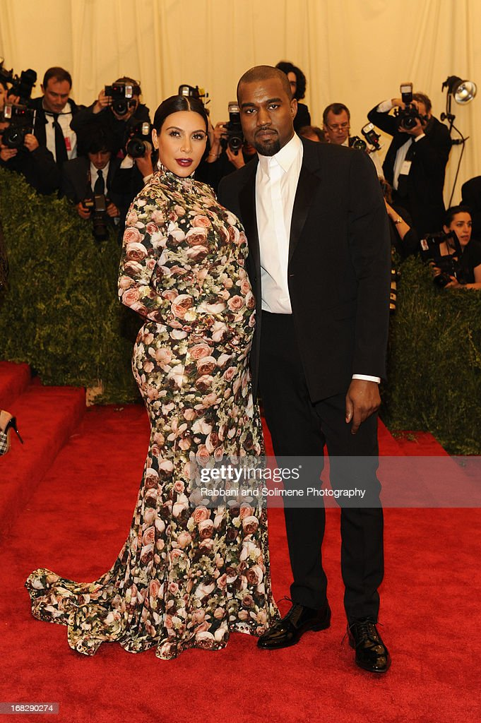 Kim Kardashian and Kanye West attends the Costume Institute Gala for the 'PUNK: Chaos to Couture' exhibition at the Metropolitan Museum of Art on May 6, 2013 in New York City.