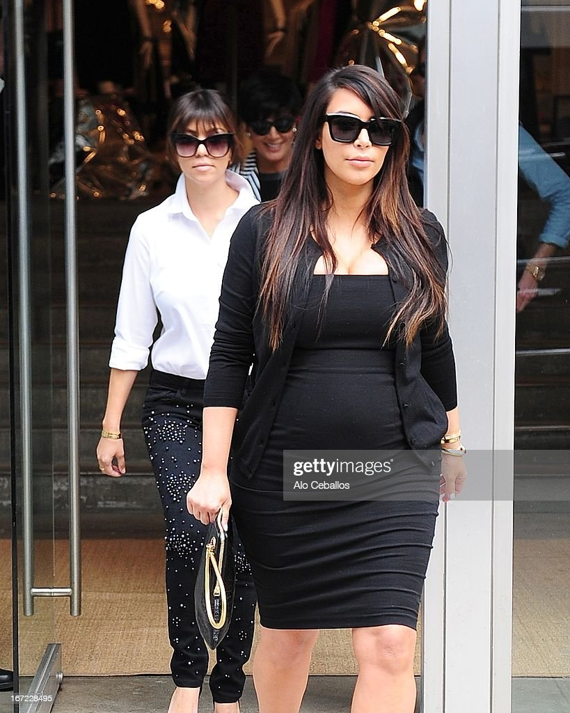 Kim Kardashian and Kourtney Kardashian are seen in the Meat Packing District on April 22, 2013 in New York City.