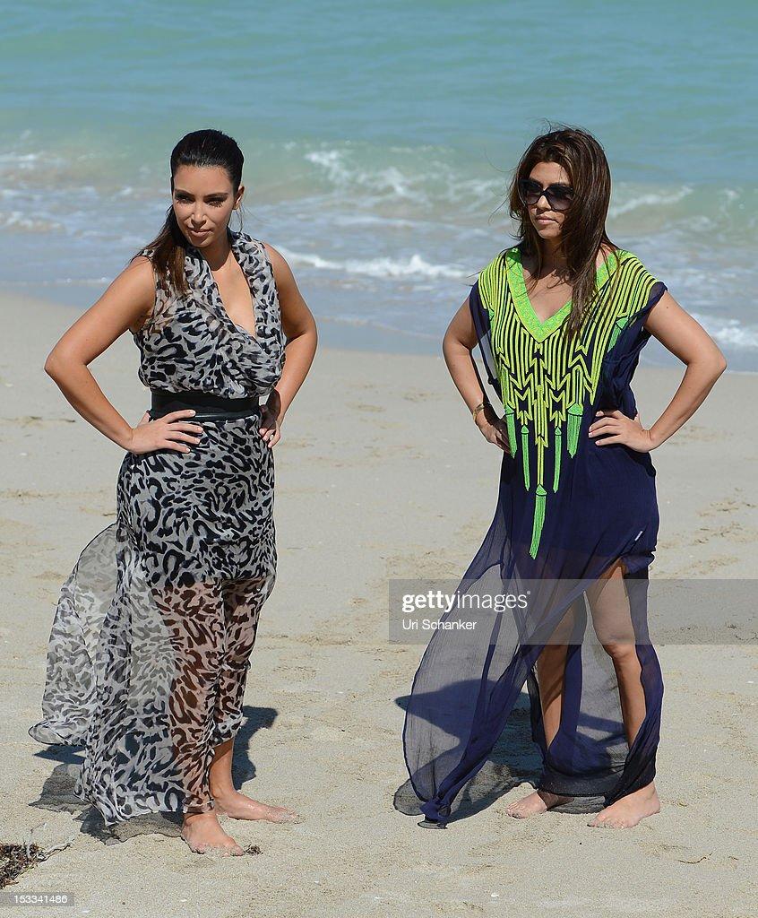 Kim Kardashian and Kourtney Kardashian are sighted on October 3, 2012 in Miami, Florida.