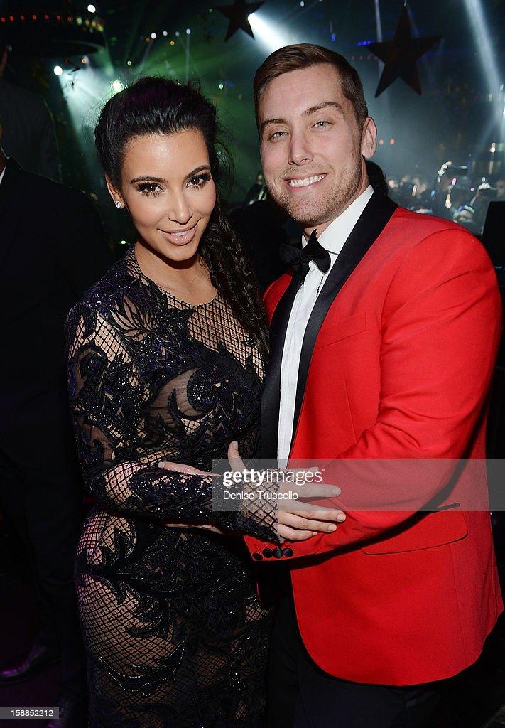 Kim Kardashian and Lance Bass celebrate New Year's Eve countdown at 1 OAK Nightclub at The Mirage Hotel & Casino on December 31, 2012 in Las Vegas, Nevada.