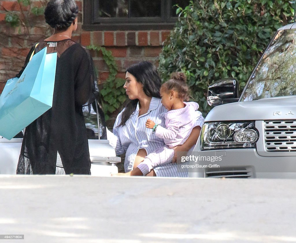 Kim Kardashian and North West are seen at Kim Kardashian's baby shower in Calabasas on October 25 2015 in Los Angeles California