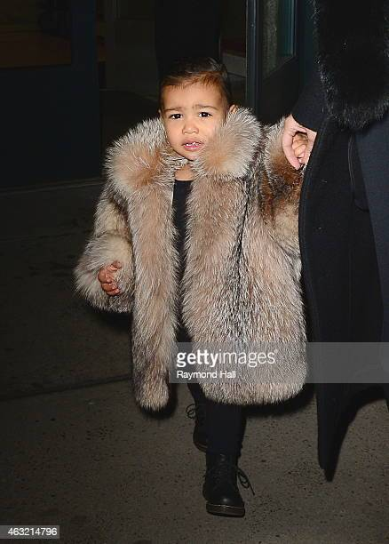 Kim Kardashian and North West are seen in Walking in Soho on February 11 2015 in New York City