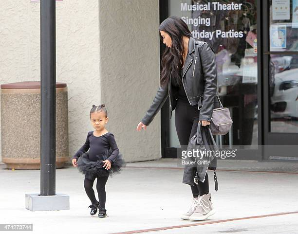 Kim Kardashian and North West are seen on May 21 2015 in Los Angeles California