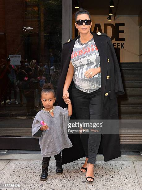 Kim Kardashian and North West is seen coming out of 'Mike Studio'c on September 7 2015 in New York City