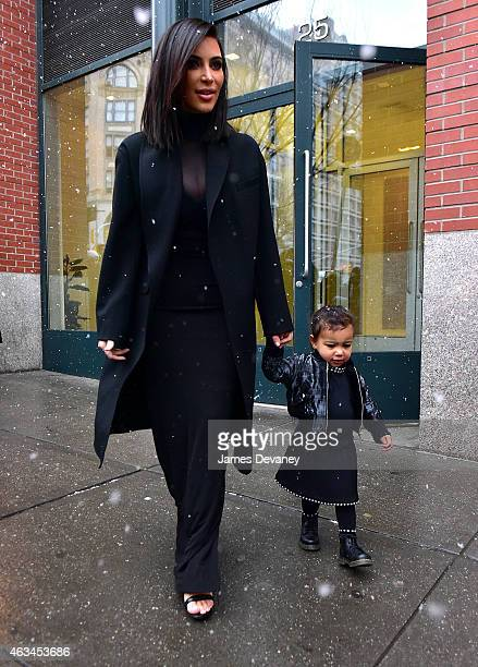 Kim Kardashian and North West seen on the streets of SoHo on February 14 2015 in New York City