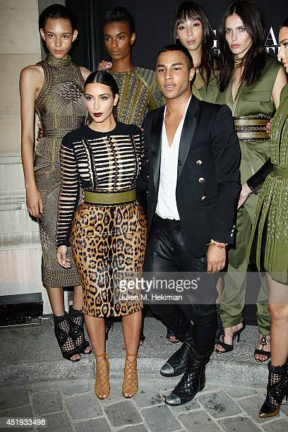 Kim Kardashian and Olivier Rousteing attend the Vogue Foundation Gala as part of Paris Fashion Week at Palais Galliera on July 9 2014 in Paris France