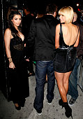 Kim Kardashian and Paris Hilton attend Perez Hilton's birthday party at the Viper Room on March 28 2009 in Hollywood California