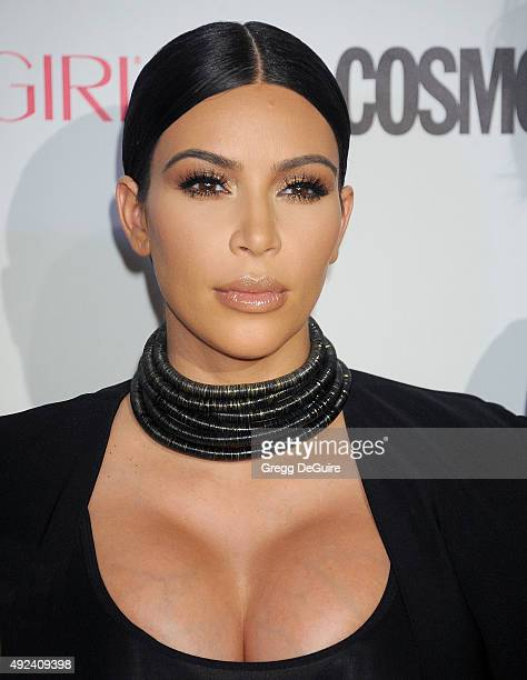 Kim Kardashian arrives at Cosmopolitan Magazine's 50th Birthday Celebration at Ysabel on October 12 2015 in West Hollywood California