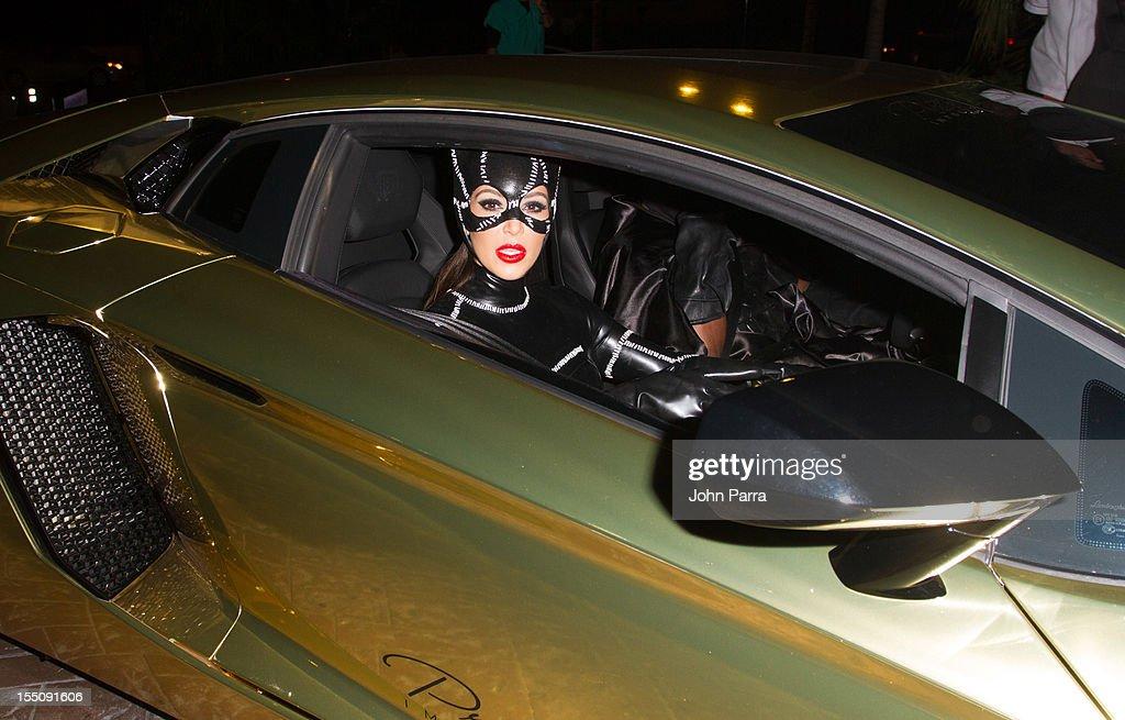 Kim Kardashian arrives at Kim Kardashian's Halloween party at LIV nightclub at Fontainebleau Miami on October 31, 2012 in Miami Beach, Florida.