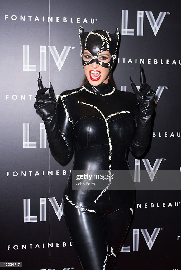 Kim Kardashian arrives at Kim Kardashian's Halloween party at LIV nightclub at Fontainebleau Miami on October 31, 2012 in Miami Beach, Florida.