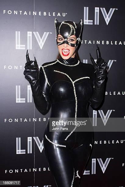 Kim Kardashian arrives at Kim Kardashian's Halloween party at LIV nightclub at Fontainebleau Miami on October 31 2012 in Miami Beach Florida