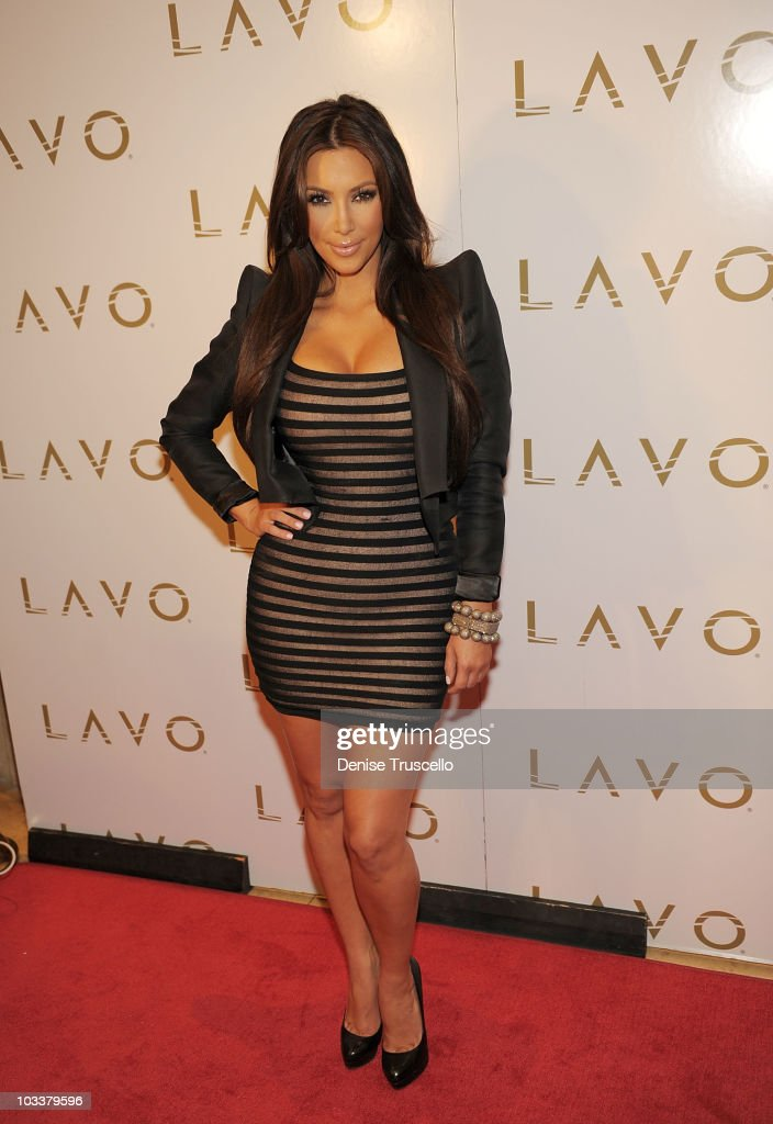 Kim Kardashian arrives at Lavo on August 13 2010 in Las Vegas Nevada