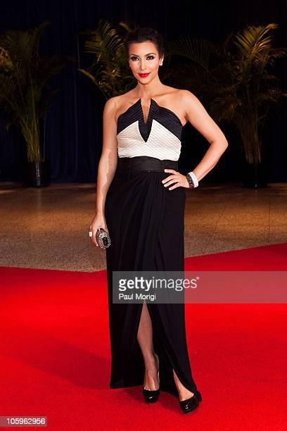 Kim Kardashian arrives at the 2010 White House Correspondents' Association Dinner at the Washington Hilton on May 1 2010 in Washington DC