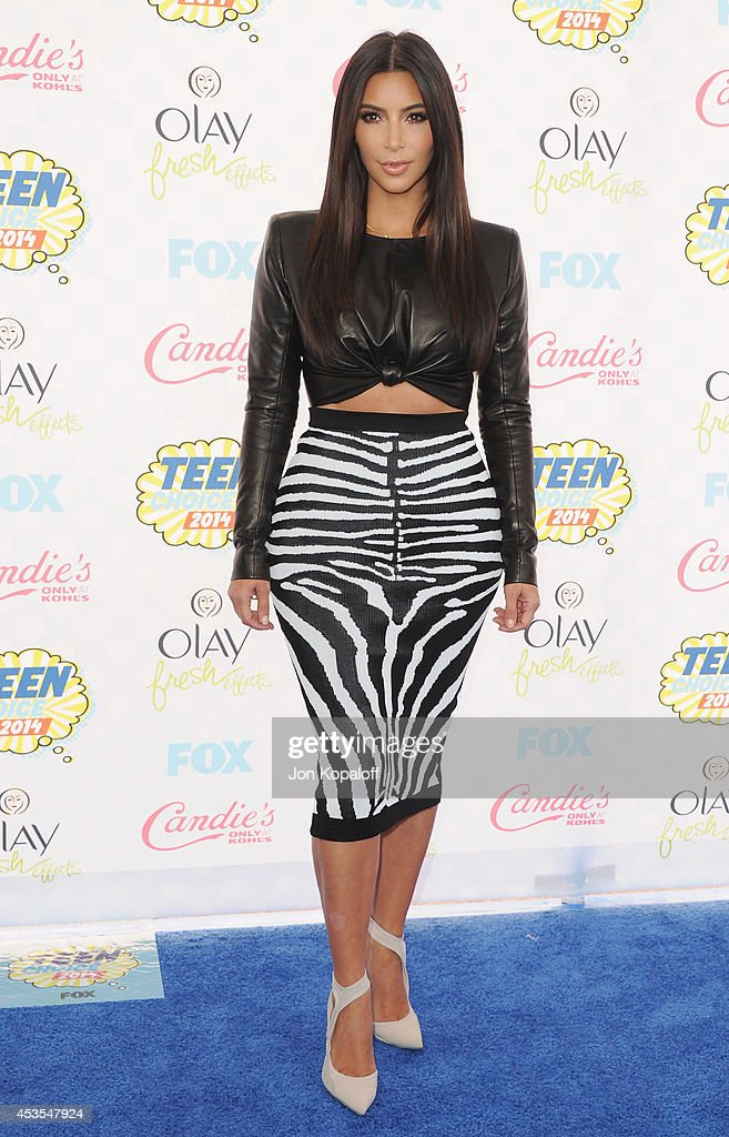 Kim Kardashian arrives at the 2014 Teen Choice Awards at The Shrine Auditorium on August 10 2014 in Los Angeles California