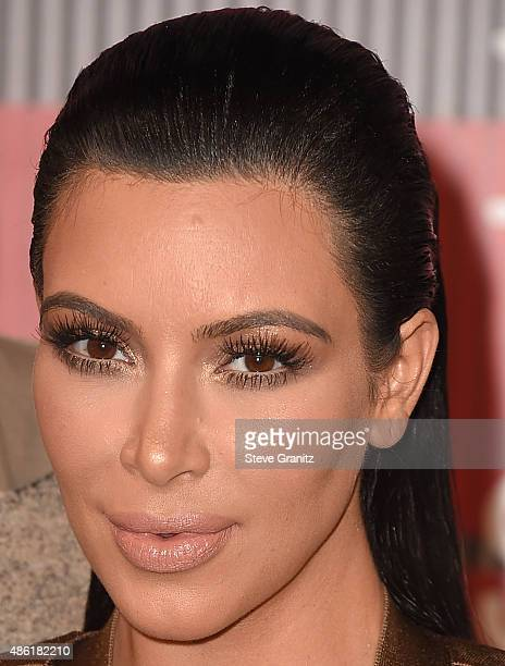 Kim Kardashian arrives at the 2015 MTV Video Music Awards at Microsoft Theater on August 30 2015 in Los Angeles California