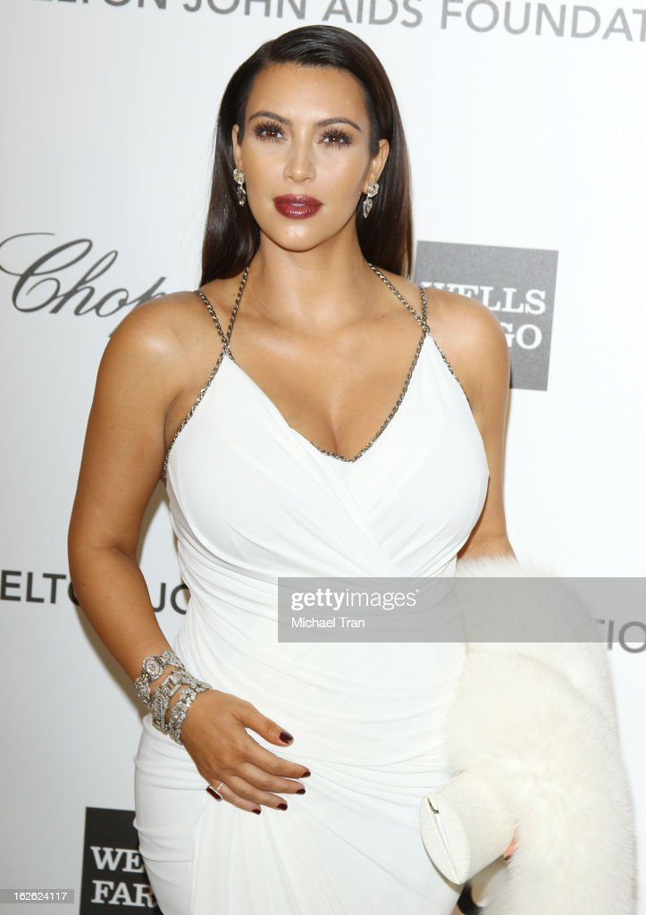 Kim Kardashian arrives at the 21st Annual Elton John AIDS Foundation Academy Awards viewing party held at West Hollywood Park on February 24, 2013 in West Hollywood, California.