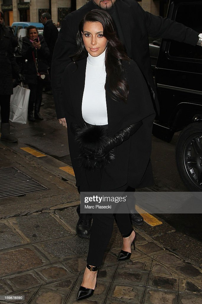 <a gi-track='captionPersonalityLinkClicked' href=/galleries/search?phrase=Kim+Kardashian&family=editorial&specificpeople=753387 ng-click='$event.stopPropagation()'>Kim Kardashian</a> arrives at the 'Costes' restaurant on January 22, 2013 in Paris, France.