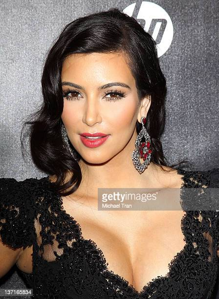Kim Kardashian arrives at the Weinstein Company's 2012 Golden Globe afterparty held at Bar 210 at The Beverly Hilton hotel on January 15 2012 in...